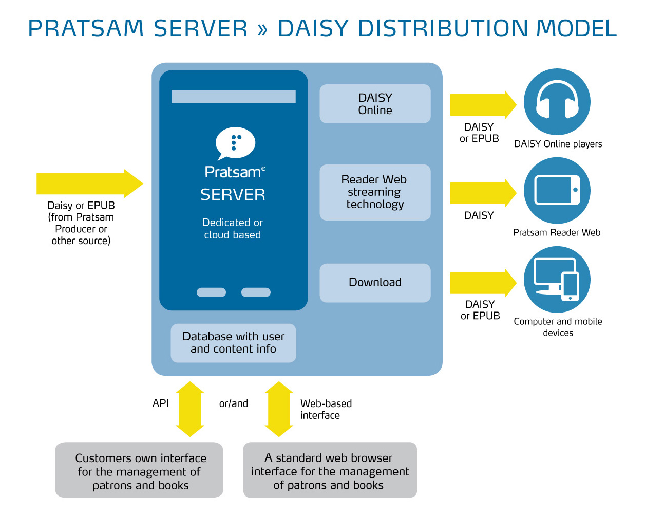 Graphical overview of Pratsam Server delivering DAISY online